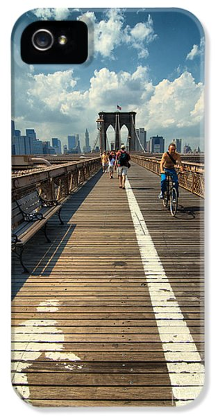 Lanes For Pedestrian And Bicycle Traffic On The Brooklyn Bridge IPhone 5 Case by Amy Cicconi