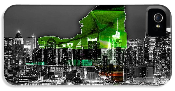 New York Map And Skyline Watercolor IPhone 5 Case by Marvin Blaine