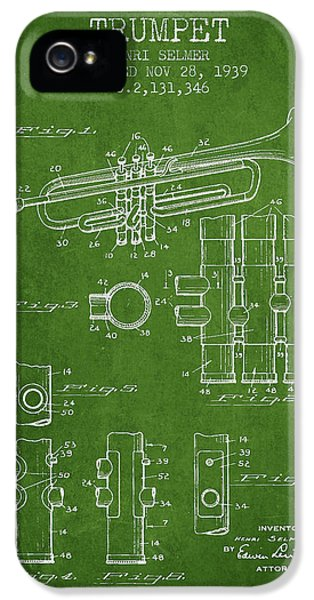 Trumpet Patent From 1939 - Green IPhone 5 Case by Aged Pixel