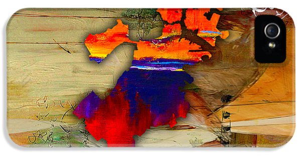 Boston Map Watercolor IPhone 5 Case by Marvin Blaine