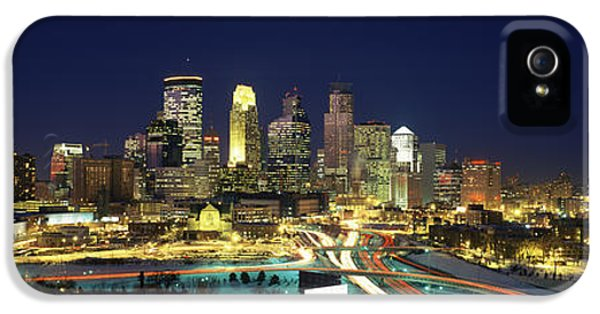 Buildings Lit Up At Night In A City IPhone 5 Case