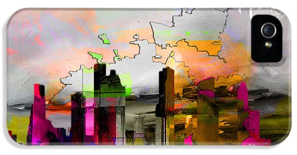 Houston Texas Map And Skyline Watercolor IPhone 5 Case