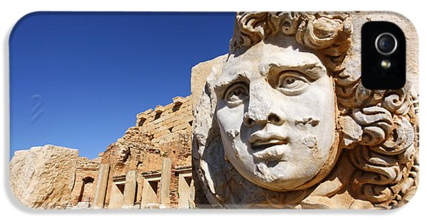 Sculpted Medusa Head At The Forum Of Severus At Leptis Magna In Libya IPhone 5 Case by Robert Preston