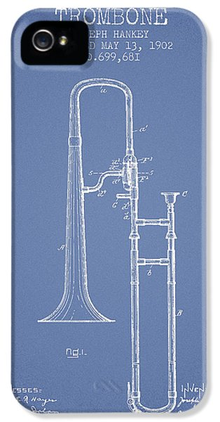 Trombone iPhone 5 Case - Trombone Patent From 1902 - Light Blue by Aged Pixel