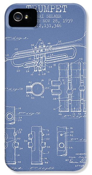 Trumpet Patent From 1939 - Light Blue IPhone 5 Case by Aged Pixel