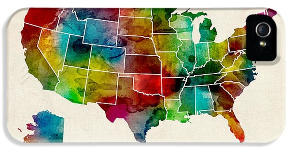 United States Watercolor Map IPhone 5 Case by Michael Tompsett