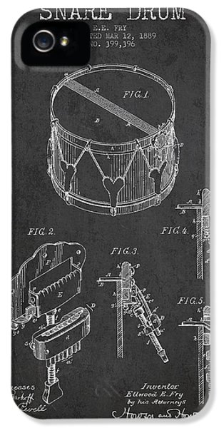 Drum iPhone 5 Case - Vintage Snare Drum Patent Drawing From 1889 - Dark by Aged Pixel