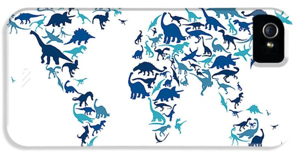 Dinosaur Map Of The World Map IPhone 5 / 5s Case by Michael Tompsett