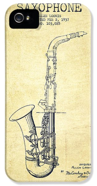 Saxophone Patent Drawing From 1937 - Vintage IPhone 5 / 5s Case by Aged Pixel