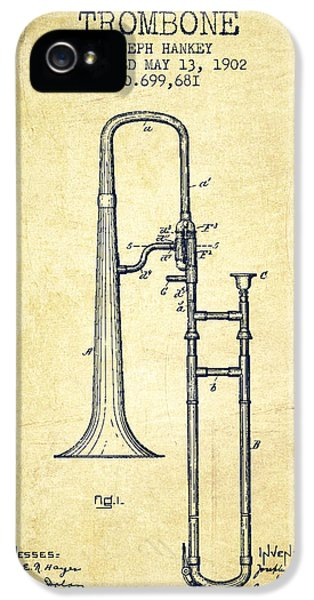 Trombone iPhone 5 Case - Trombone Patent From 1902 - Vintage by Aged Pixel
