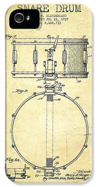 Drum iPhone 5 Case - Snare Drum Patent Drawing From 1939 - Vintage by Aged Pixel