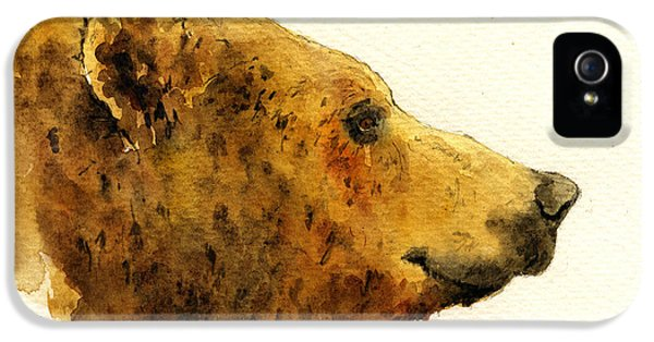 Grizzly Bear IPhone 5 Case by Juan  Bosco