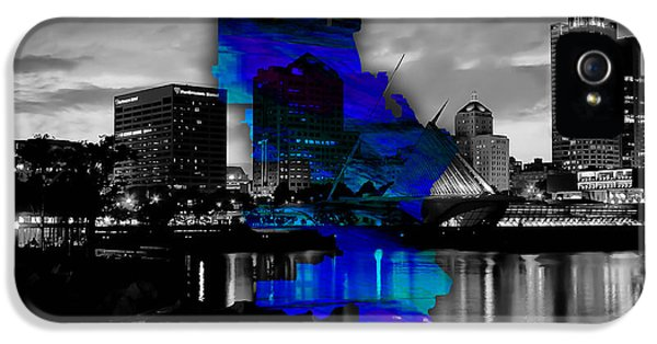 Milwaukee Map And Skyline Watercolor IPhone 5 / 5s Case by Marvin Blaine