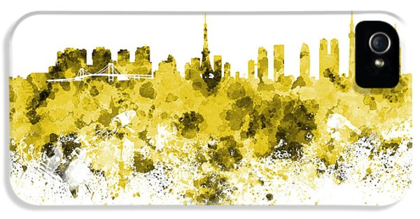 Tokyo Skyline In Watercolor On White Background IPhone 5 Case by Pablo Romero