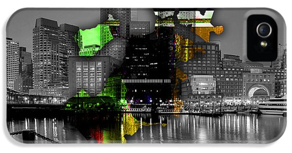 Boston Map And Skyline Watercolor IPhone 5 Case