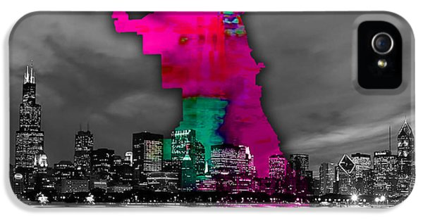 Chicago iPhone 5 Case - Chicago Map And Skyline Watercolor by Marvin Blaine