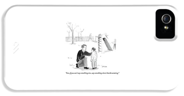 A Father Encourages His Son At The Playground IPhone 5 Case by Emily Flake