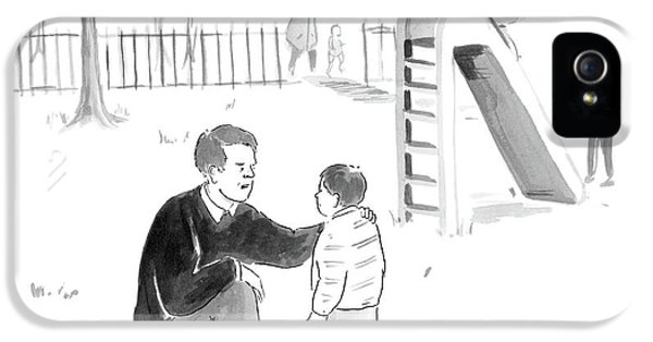 Day iPhone 5 Case - A Father Encourages His Son At The Playground by Emily Flake