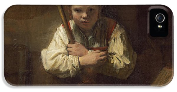 A Girl With A Broom IPhone 5 Case by Rembrandt