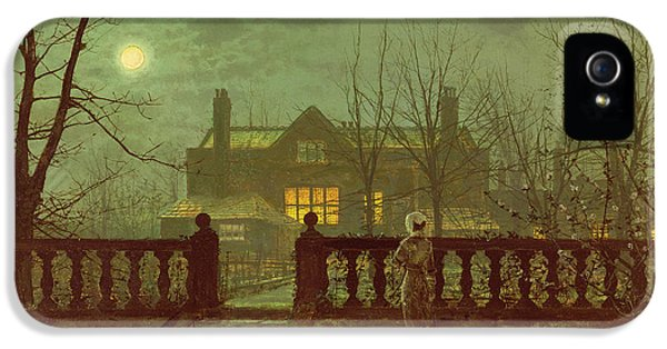 A Lady In A Garden By Moonlight IPhone 5 Case by John Atkinson Grimshaw