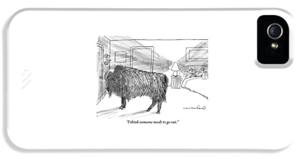 A Large Buffalo Stands Near The Door IPhone 5 Case by Michael Crawford