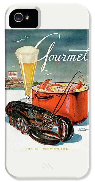 Rolling Stone Magazine iPhone 5 Case - A Lobster And A Lobster Pot With Beer by Henry Stahlhut