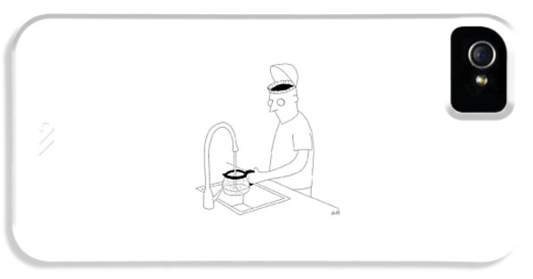 A Man Filling Up His Coffee Pot IPhone 5 Case by Seth Fleishman