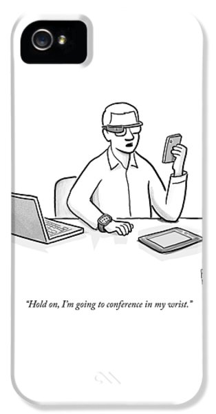 Chat iPhone 5 Case - A Man Wearing Google Glasses by Paul Noth