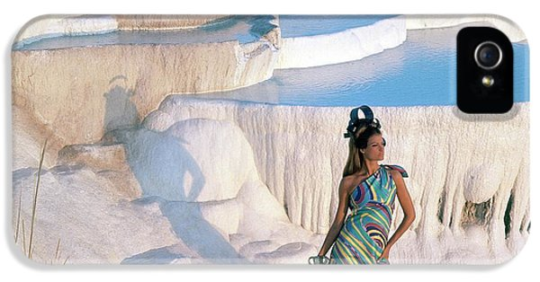 A Model On The Cliffs Of Pamukkale IPhone 5 Case by Henry Clarke