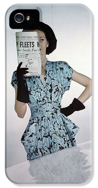 A Model Wearing A Floral Blue Dress IPhone 5 Case by Constantin Joff?