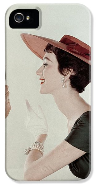 A Model Wearing A Sun Hat And Dress IPhone 5 Case by John Rawlings