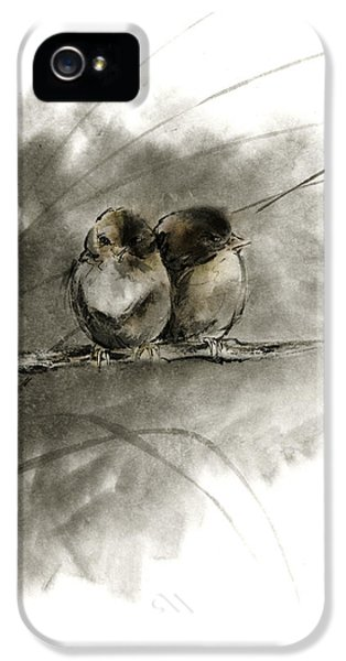 A Pair Of Sparrows Two Birds Brown Bird Original Ink Painting Artwork IPhone 5 Case by Mariusz Szmerdt