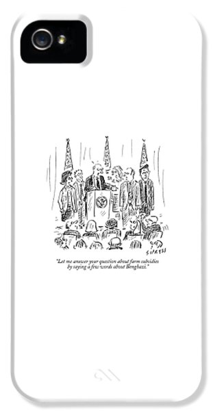 Hillary Clinton iPhone 5 Case - A Politician Speaks At A Podium by David Sipress