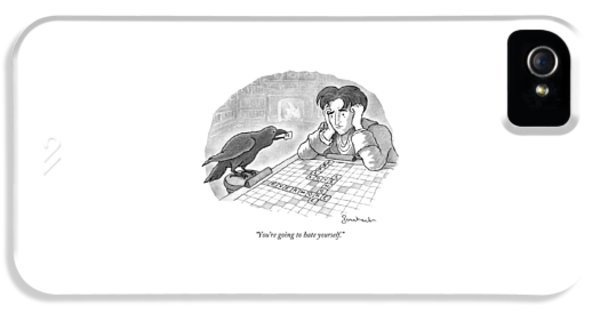 A Raven Is About To Add An N To The Word Evermore IPhone 5 Case by David Borchart
