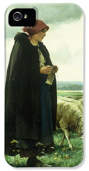 A Shepherdess With Her Flock IPhone 5 Case by Julien Dupre