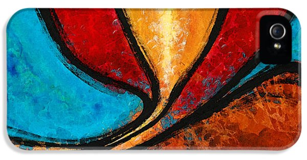 A Visit With Ama - Vibrant Abstract Flower Art By Sharon Cummings IPhone 5 Case