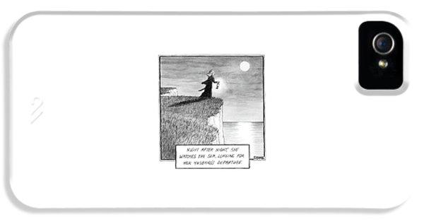 A Woman Runs In The Dark Toward A Cliff IPhone 5 Case