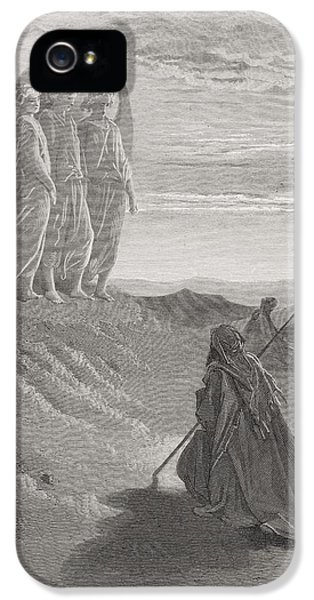 Abraham And The Three Angels IPhone 5 / 5s Case by Gustave Dore
