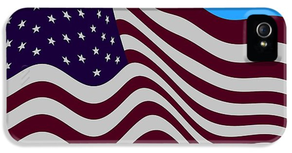 Abstract Burgundy Grey Violet 50 Star American Flag Flying Cropped IPhone 5 Case by L Brown