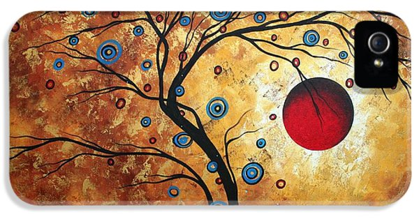 Abstract Art Landscape Tree Metallic Gold Texture Painting Free As The Wind By Madart IPhone 5 Case by Megan Duncanson