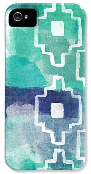 Abstract iPhone 5 Case - Abstract Aztec- Contemporary Abstract Painting by Linda Woods