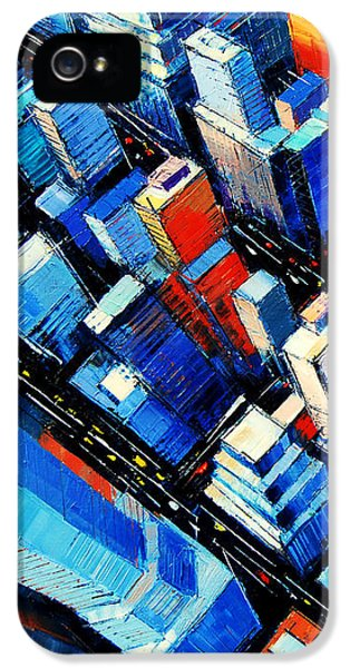 Office Buildings iPhone 5 Case - Abstract New York Sky View by Mona Edulesco