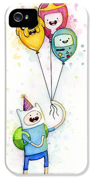 Adventure Time Finn With Birthday Balloons Jake Princess Bubblegum Bmo IPhone 5 / 5s Case by Olga Shvartsur