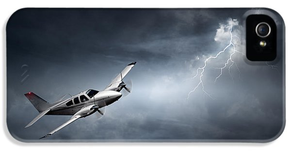 Risk - Aeroplane In Thunderstorm IPhone 5 Case by Johan Swanepoel
