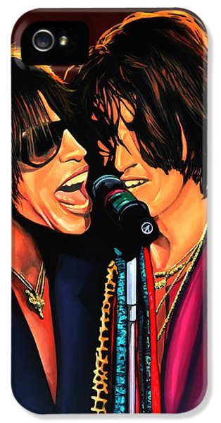 Steven Tyler iPhone 5 Case - Aerosmith Toxic Twins Painting by Paul Meijering