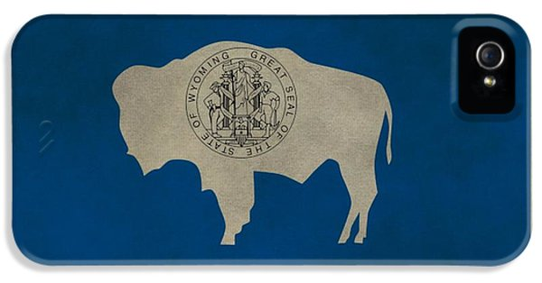 Aged Wyoming State Flag IPhone 5 Case by Dan Sproul