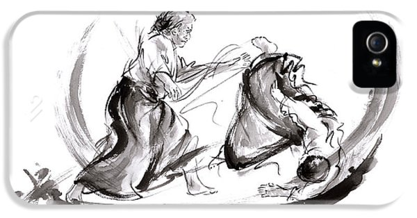 Aikido Fight Scenery Martial Arts Drawing Painting Sketch Art Draw Japan Japanese School IPhone 5 Case by Mariusz Szmerdt