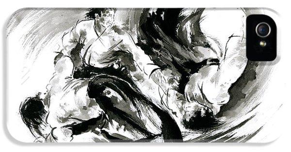 Aikido Randori Fight Popular Techniques Martial Arts Sumi-e Samurai Ink Painting Artwork IPhone 5 Case by Mariusz Szmerdt