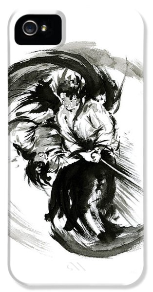 Aikido Techniques Martial Arts Sumi-e Black White Round Circle Design Yin Yang Ink Painting Watercol IPhone 5 Case
