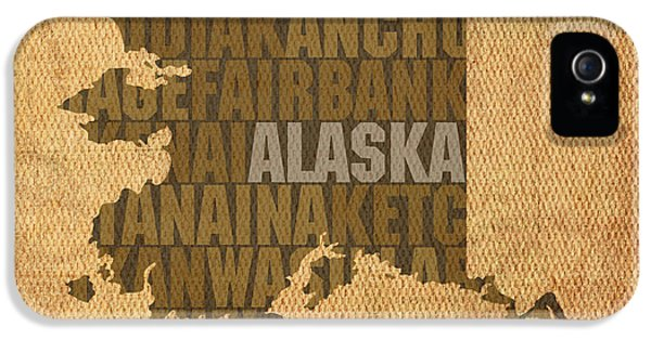 Alaska Word Art State Map On Canvas IPhone 5 Case by Design Turnpike